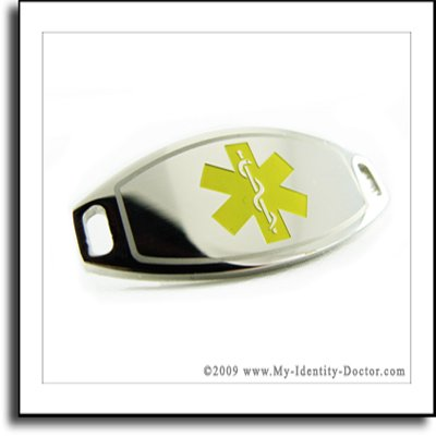 2mm Polished Steel Medical ID Plate, Yellow Symbol