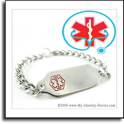 Medical Alert ID Tag Charm Bracelets Jewelry ENGRAVED