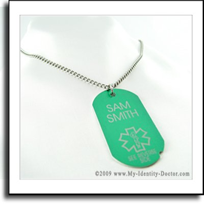 Green I.D. Dog Tag Medical Alert ID Necklace Pendant