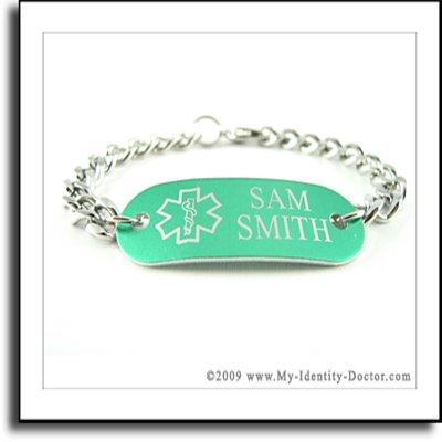 Green Medical Alert ID Bracelet Curb Chain Engrave Free
