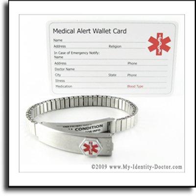 """Expandable 7"""" Ladies Steel Medical ID Alert Bracelet"""