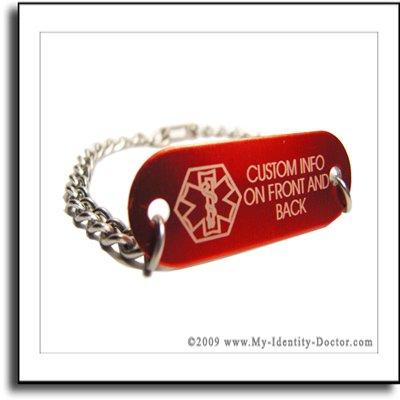 ENGRAVED Diabetes Diabetic Medical Alert ID Bracelet