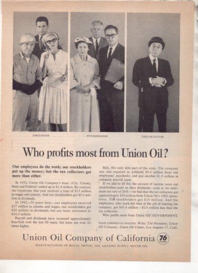 * 1963 UNION OIL COMPANY OF CALIFORNIA AD UNION 76