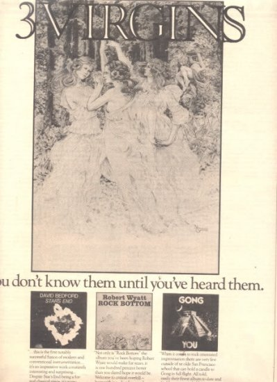 1975 THREE 3  VIRGINS POSTER TYPE AD