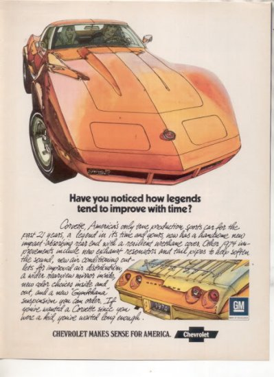 1974 CHEVY CORVETTE VINTAGE CAR AD