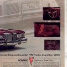 1976 PONTIAC GRAND PRIX VINTAGE CAR AD 2-PAGE
