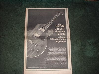 1973 THE SWEDE GUITAR POSTER TYPE AD