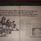 1973 SANTANA CARAVANSERAI CARLOS SANTANA POSTER TYPE AD