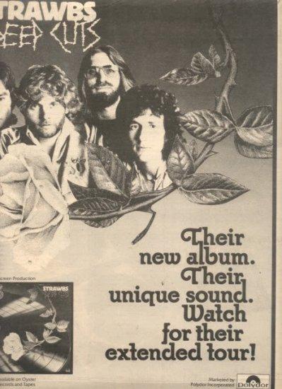 1976 STRAWBS DEEP CUTS POSTER TYPE AD