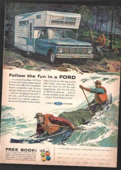 * 1964 FORD PICKUP TRUCK PHOTO PRINT AD