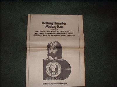 1972 MICKEY HART ROLLING THUNDER POSTER TYPE AD