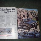1985 FORD RANGER STX TRUCK CAR AD 2-PAGE