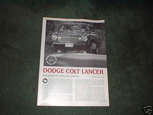 1977 DODGE COLT LANCER ROAD TEST CAR AD 4-PAGE