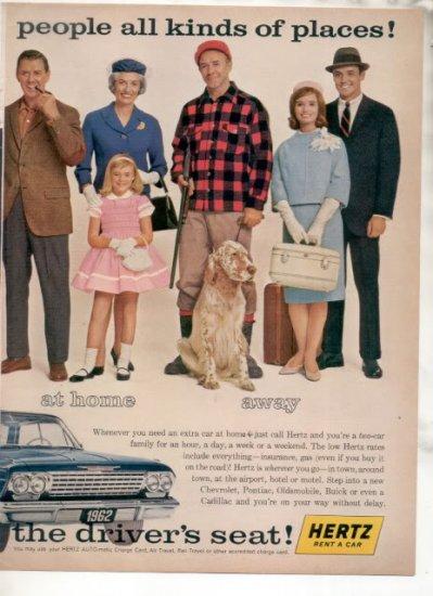 * 1962 HERTZ RENT A CAR CHEVY IMPALA BEL AIR CAR AD