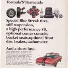 1966 1967 PLYMOUTH BARRACUDA FORMULA S VINTAGE CAR AD