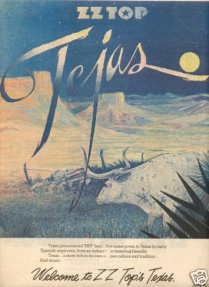 ZZ TOP TEJAS POSTER TYPE AD 1977