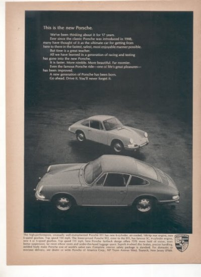 1966 PORSCHE VINTAGE ORIGINAL CAR AD