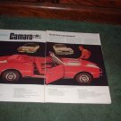 1966 1967 CHEVY CAMARO SS 350 CONVERTABLE CAR AD 4-PAGE