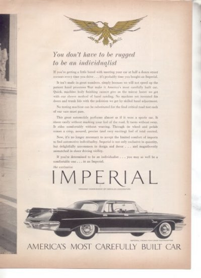 * 1960 CHRYSLER IMPERIAL VINTAGE CAR AD 2-PAGE