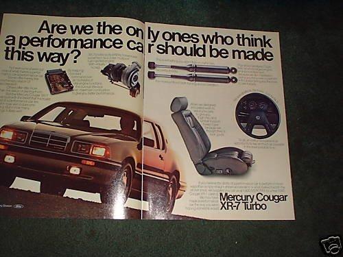 1984 1985 MERCURY COUGAR XR7 XR-7 TURBO CAR AD 2-PAGE