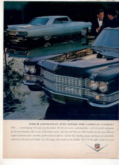 * 1963 CADILLAC PHOTO PRINT CAR AD
