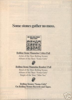 THE ROLLING STONES SOME GIRLS POSTER TYPE AD 1979