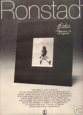 LINDA RONSTADT PRISONER IN DISGUISE PROMO AD 1975