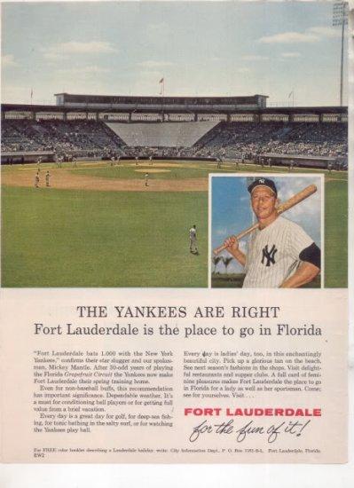 * 1963 MICKEY MANTLE NY YANKEES PHOTO AD