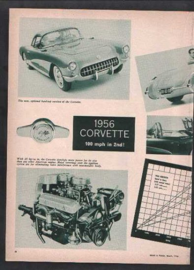 * 1956 CHEVY CORVETTE ARTICLE CAR AD PRINT 2-PAGE