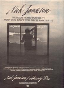 1977 NICK JAMESON ALREADY FREE POSTER TYPE AD