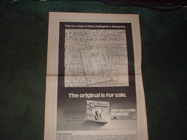 * 1973 RORY GALLAGHER BLUEPRINT  POSTER TYPE PROMO  AD