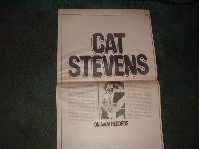 * 1971 CAT STEVENS POSTER TYPE PROMO  AD