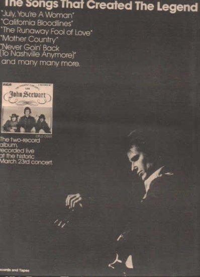 * 1974 JOHN STEWART POSTER TYPE PROMO AD