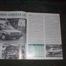 1984 TOYOTA COROLLA LE ORIGINAL ROAD TEST 4-PAGE