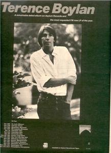 1977 TERENCE BOYLAN  POSTER TYPE TOUR AD