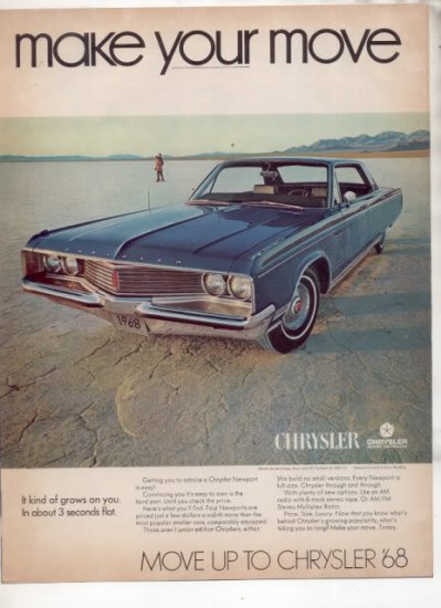 * 1968 CHRYSLER NEWPORT PHOTO PRINT AD