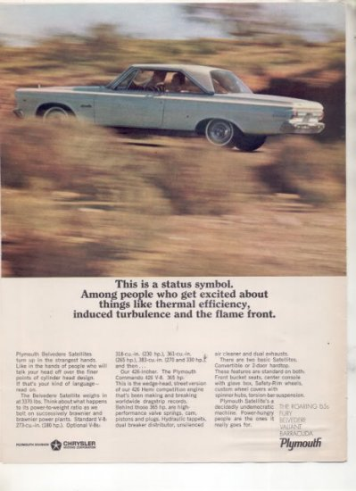 1965 1966 PLYMOUTH SATELLITE VINTAGE CAR AD