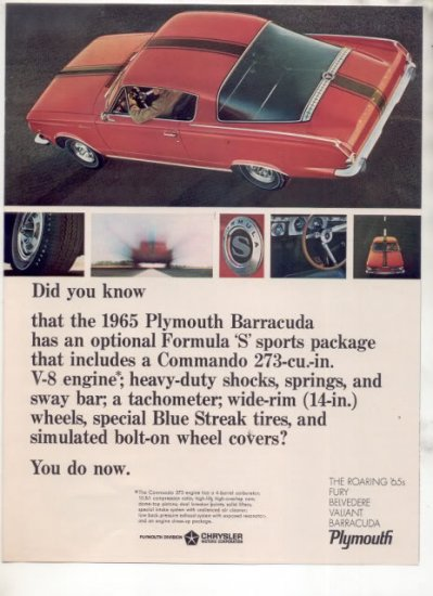 1965 1966 PLYMOUTH BARRACUDA VINTAGE CAR AD