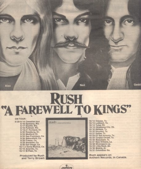 * 1977  RUSH A FAREWELL TO KINGS POSTER TYPE TOUR AD