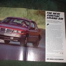 1984 1985 PONTIAC GRAND AM VINTAGE CAR AD 2-PAGE