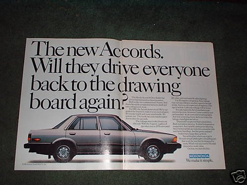 1982 HONDA ACCORD SEDAN 4-DOOR CAR AD 2-PAGE