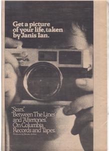 1976 JANIS IAN STARS POSTER TYPE AD