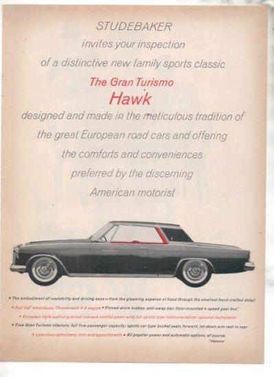 * 1962 STUDEBAKER GRAN TURISMO HAWK PHOTO PRINT AD