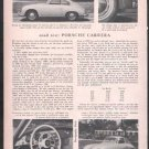 * 1956 PORSCHE CARRERA ROAD TEST CAR AD 2-PAGE
