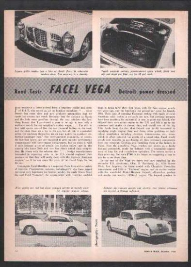 * 1956 1957 FACEL VEGA ROAD TEST CAR AD 3-PAGE