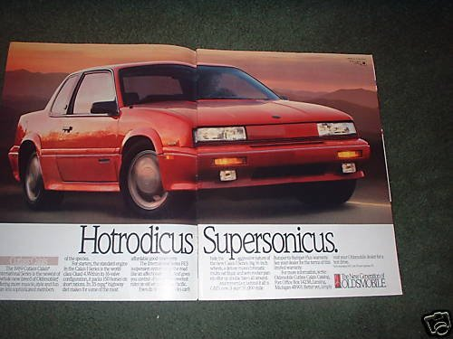 1989 OLDSMOBILE CUTLASS CALAIS VINTAGE CAR AD 2-PAGE