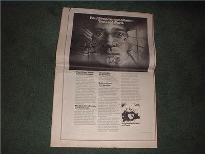 1972 PAUL SIMON THE LAST WORD POSTER TYPE AD