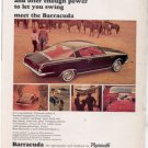 1964 1965 PLYMOUTH BARRACUDA VINTAGE CAR AD