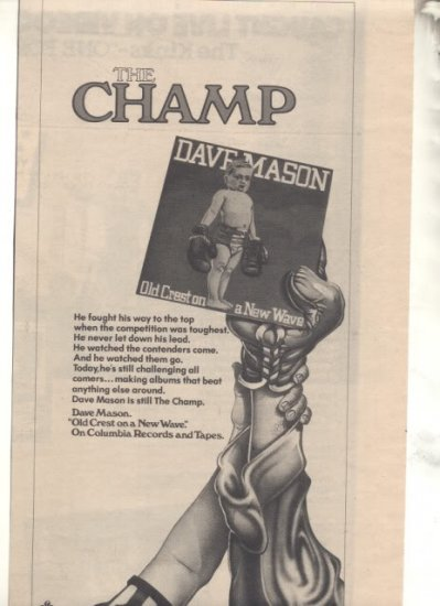 * 1980 DAVE MASON OLD CREST ON A NEW WAVE PROMO AD