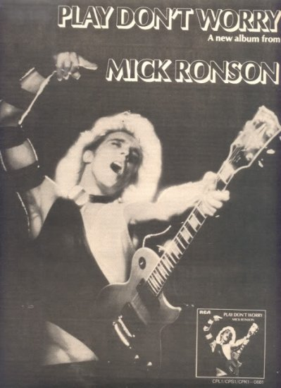 1975 MICK RONSON PLAY DONT WORRY POSTER TYPE AD